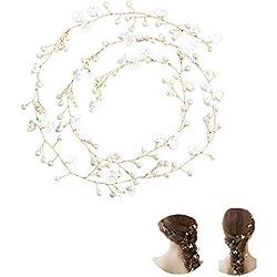 1M Femmes Perle Mariage Vigne de Cheveux, Mode Coiffure Barrettes de Cheveux Hair pour la Mariée/Filles Serre-têtes Accessoires de Décor Portent des Clips Bijoux pour Demoiselle D'honneur