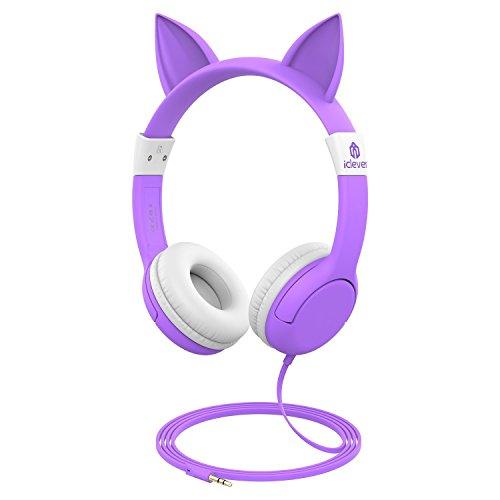 Auriculares iClever BoostCare Kids, Auriculares con cable para el oído inspirados en gato con 85 dB Volume Limited, cable de audio de 3.5mm, Halloween y regalo de Navidad para los niños, Morados