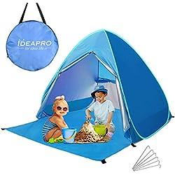 Camonti Tente de Plage, Pop Up Tente Camping Anti UV Léger Imperméable Automatique Abris de Plage Tentes instantanées portative familiale avec Sac & Fermeture Bleu (165 * 150 * 110cm)