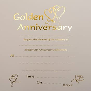 Golden Wedding Anniversary Invitations - Pack of 10: Amazon.co.uk ...