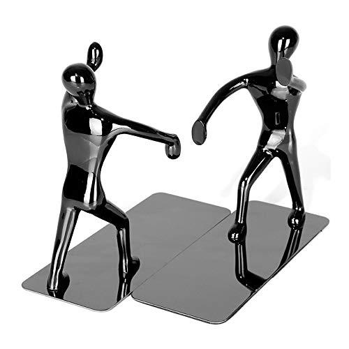 1 Paar Kung Fu Man Buchstützen Edelstahl Buchhalter für Home Decor 18.5X7X15.5CM Schwarz - Buchstützen Home Decor