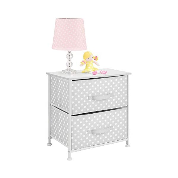 mDesign Chest of Drawers - Children's Bedroom Storage System with 2 Drawers and Flat Top - Nursery Storage Unit with Polka Dot Design - Grey/White mDesign SWEET STORAGE: This 2-drawer side table is a must-have accent to complement any child's room. The grey fabric is adorned with a sweet white polka dot pattern. STORE ANYTHING: The bedroom drawers are a versatile unit and can be filled with anything. Use to store toys, accessories, clothes, books, nappies and more. VERSATILE UNIT: Although the unit works best as bedroom storage, its uses do not stop there. Place in play rooms, nurseries and other child-specific areas of the home. 5