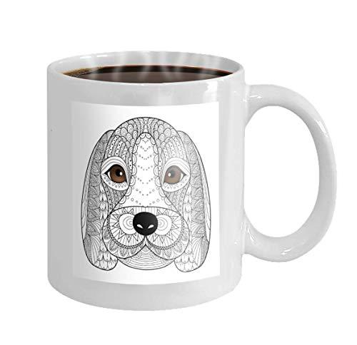 11 oz Coffee Mug Beagle Puppy line Art Coloring Book Adult Design Novelty Ceramic Gifts Tea Cup