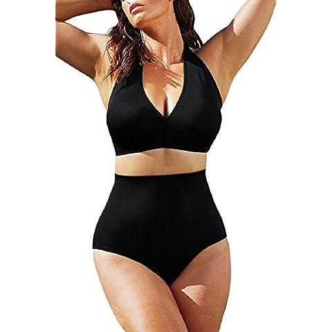 Sólido negro Halter Bikini Bañador, bañador,, tamaño M UK 12–14EU 40–42