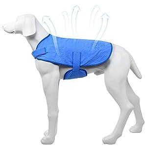 Petacc - Gilet rafraîchissant pour chien, avec bande auto-adhésive pour l'été chaud, empêche les coups de chaleur, évite les coups de soleil, bleu