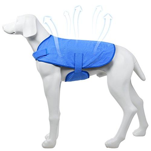 Petacc - Chaleco de refrigeración para perros, con correa autoadhesiva para el verano caliente,Prevenir el golpe de calor,evita quemaduras solares, azul
