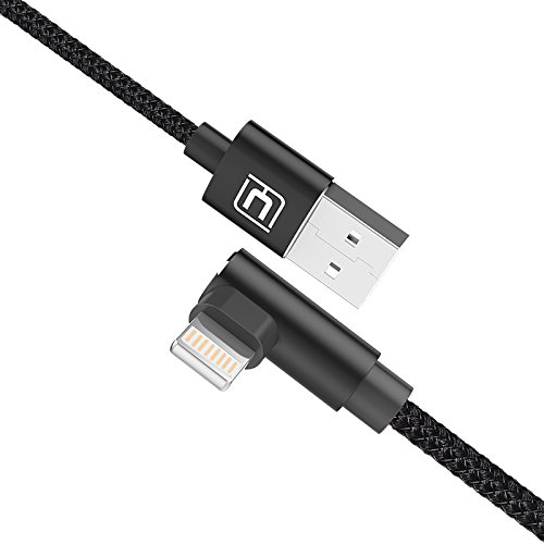 iPhone Ladekabel, CAELE 5FT 90 Grad Lightning auf USB Kabel Winkel Stecker Kabel L Typ für iPhone X / 8 / 8 Plus / 7 / 6 / 6 Plus / 6s / 6s Plus / 5 / 5c / 5s / SE, iPad (Schwarz) (Fall Mini-ipad 4. Generation)