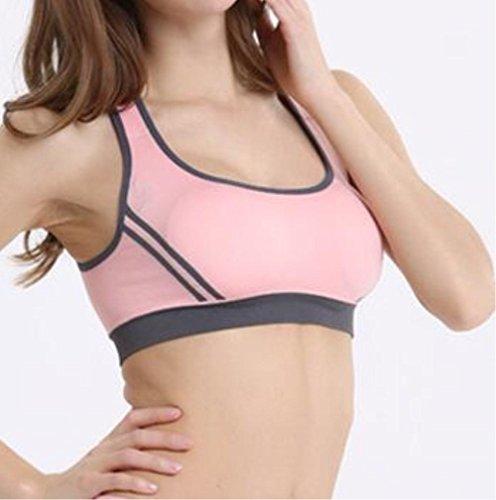 HAPPYMOOD Reggiseno sportivo femminile ad alto impatto Coppa piena in esecuzione fitness imbottito senza fibbie sudore per esercitare light pink