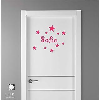 Artstickers Aufkleber für Kinder Dekoration von Möbeln, Türen, Wände. Namen: Sofia, in Pink Namen 20cm + 10-Kit Sterne für Freie Verlegung.