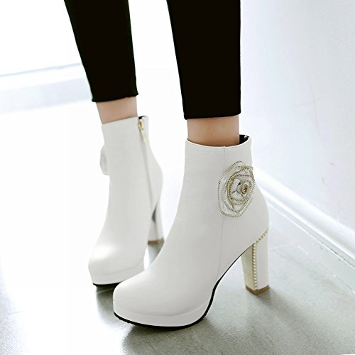 Mee Shoes Damen süß high heels Plateau runde Stiefel Weiß