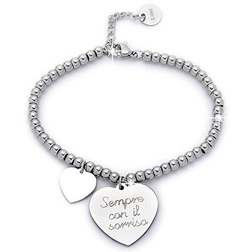 Beloved ❤️ braccialetto da donna, bracciale in acciaio emozionale - frasi, pensieri, parole con charms - ciondolo pendente - misura regolabile - incisione - argento m14