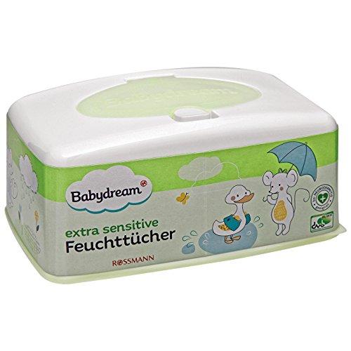 Babydream extra sensitive Feuchttücher Box 1 Stück für empfindliche Haut, schonende Reinigung, ohne Pafüm, mit Aloe Vera & Allantion, bei Neurodermitis geeignet