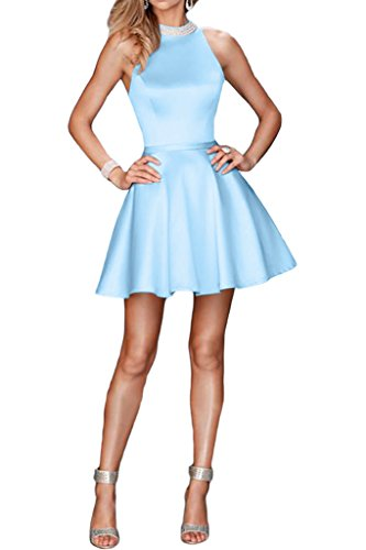 ivyd ressing Donna Sweetheart scollo con perline a linea di raso breve cocktaik leid Prom Dress abito da sera Blau