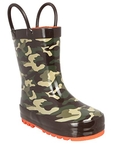 Capelli New York Toddler Boys Shiny Camo Printed Rubber Rain Boot Handles