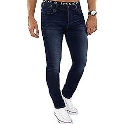 JACK & JONES Herren Jeans jjiTIM 085 Used Look Blue Denim Elasthan Slim Fit (Blau (Blue Denim Fit:Slim Jjitim Jjileon 382), 38W / 34L)