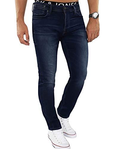 JACK & JONES Herren Jeans jjiTIM 085 Used Look Blue Denim Elasthan Slim Fit (Blau (Blue Denim Fit:Slim Jjitim Jjileon 382), 38W / 32L)