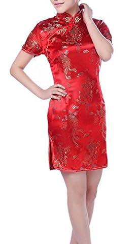 YICHUN Femme Robe Courte Chinoise Robe de Soirée Cheongsam Qipao