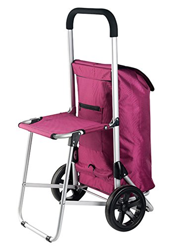 New Shopping Trolley Shopper Shopping Trolley with Folding Seat Black or Pink (30Litre) Pink