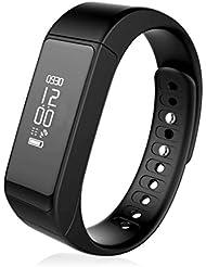 Fitness Tracker,I5 Plus Bracelet Connecté Bluetooth 4.0 Tracker d'activité Intelligent Podomètre Santé Smart Band avec Podomètre Compteur de Pas,Calories,Sommeil,Reveil Appel SMS Notifications,Compatible avec Smartphone Android et IOS