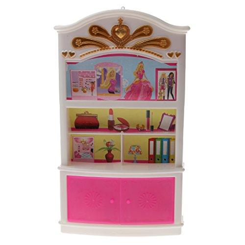 MagiDeal MIni Rosa Vetrinetta Armadio Camera da Letto Mobili per Le Bambole Barbie