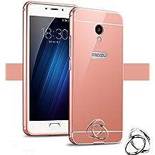 PREVOA Metal Bumper Frame Funda + Back Plastic Cover Case para Meizu M5 - Smartphone libre 4G 5.2 Pulgadas - Rosa