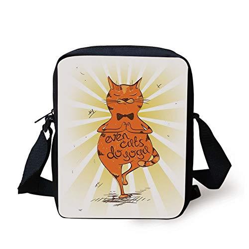 Yoga,Peaceful Cat with a Motivational Phrase Asana Balance Position Relaxation,Orange Yellow Brown Print Kids Crossbody Messenger Bag Purse