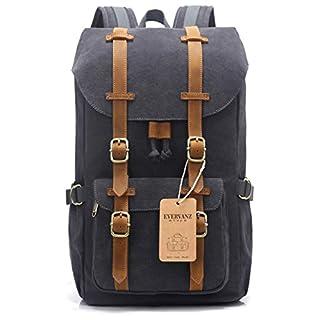 013f4f012a78e EverVanz Canvas Leder Rucksack Reise Wandern Outdoorrucksack Daypacks für  15 Zoll Laptop großer Rucksack für Schule