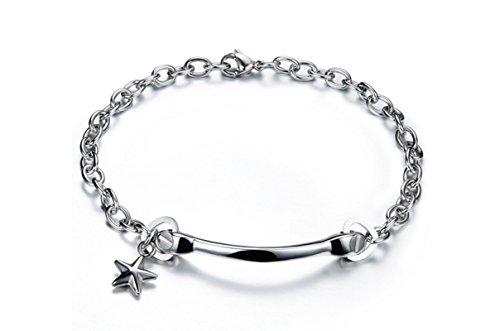 AMDXD Schmuck Herren Armband Titan Stahl Schwarz Stern Ringschlüssel Paar Armbänder 18.5CM