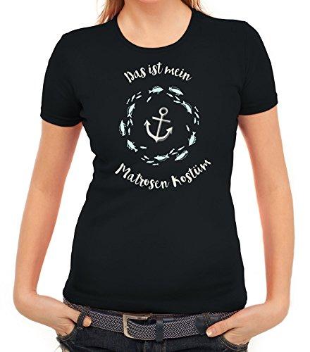 Fasching Karneval Damen T-Shirt mit Das ist mein Matrosen Kostüm 2 Motiv von ShirtStreet Schwarz