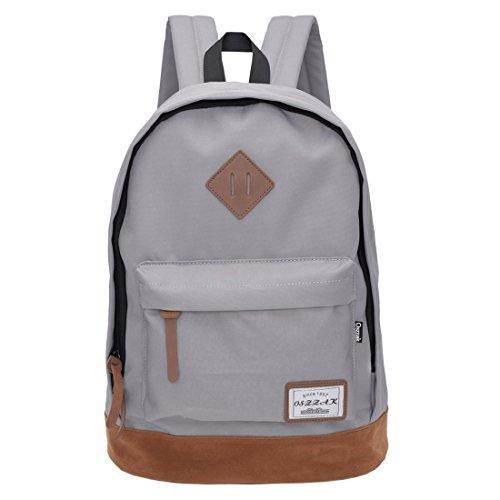 Rucksack Schulrucksack Jugendliche Backpack Rucksäcke mit Laptopfach für Camping Outdoor Sport (Grau)