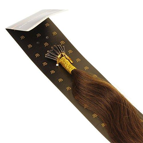 Just beautiful hair 40cm micro anello i-stick extensions capelli veri remy indiani, 0.5g - #4 castano scuro, 1x25 ciocche