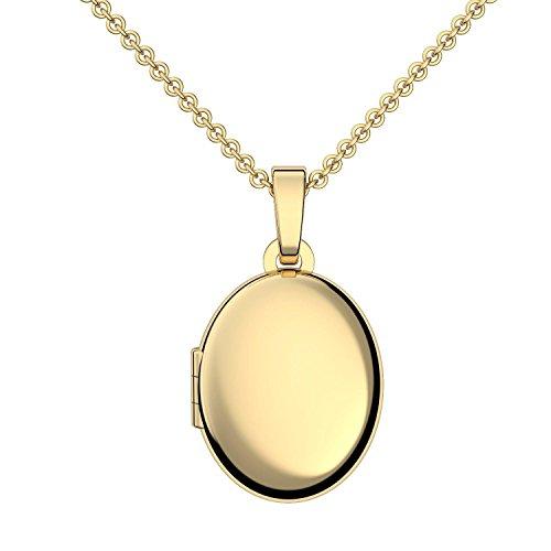 Medaillon oval Gold Amulett (Medalion, Medallion) Goldmedaillon zum Öffnen, aufklappen, aufklappbar mit Kette für Foto Fotokette Gold Kette hochwertig vergoldet! + inkl. Luxusetui + Kette FF04 VGGG45 Band In A Box 2012