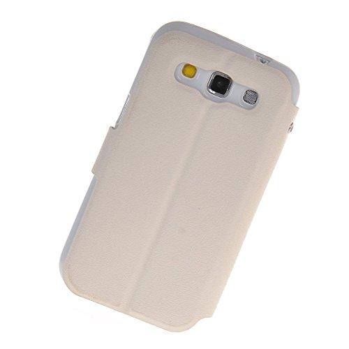 MOONCASE iPhone SE Case,Custodia in pelle Protettiva Portafoglio Flip Case Cover per Apple iPhone 5 / 5S Giallo Bianco