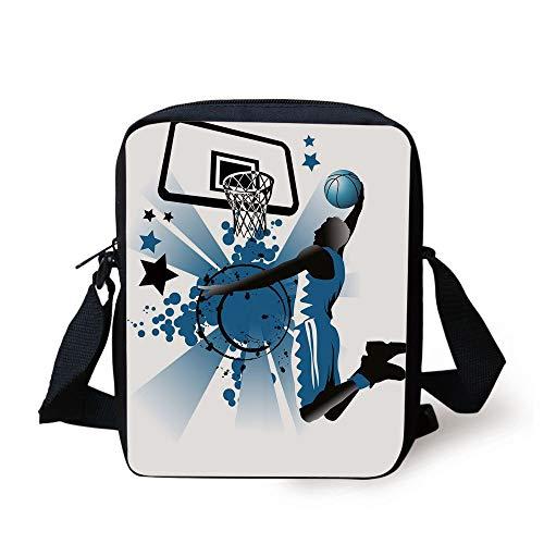 KLYDH Teen Room Decor,Silhouette of Basketball Player Jumping Success Stars Illustration,Black Violet Blue Print Kids Crossbody Messenger Bag Purse -