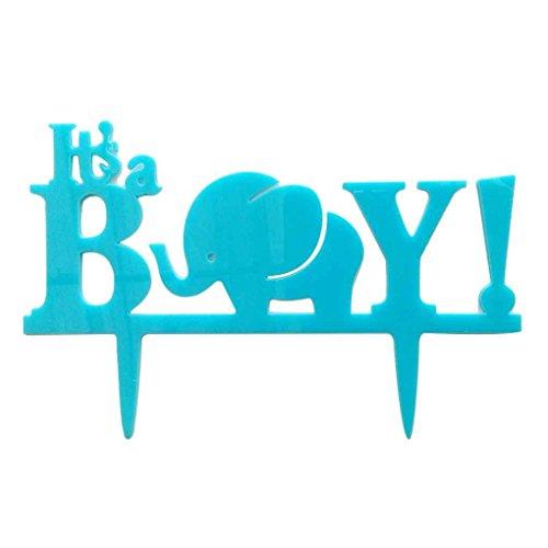 Es ist ein Junge-Baby-Dusche-Kuchen-Deckel-Kuchen-Stand-Dekoration blau (Baby-elefant-kuchen-deckel)