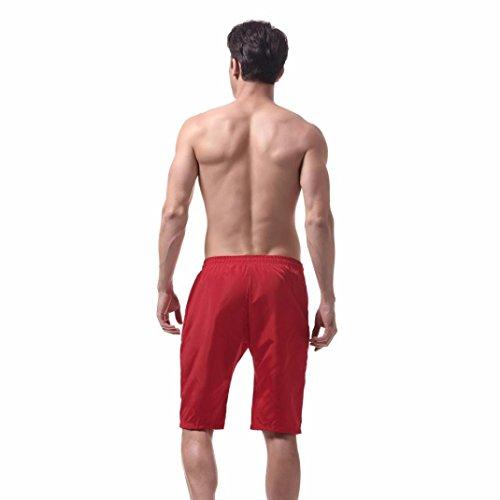 Oyedens Costume da Bagno Uomo Asciugatura Veloce Pantaloncini Sportivi da Bagno Mare Nuoto Spiaggia Leisure Travel Short Pantaloncini Rosso