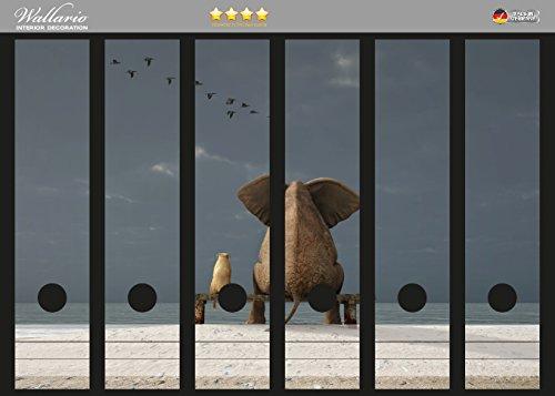 Eine Breite Von Sechs Tier (Wallario Ordnerrücken Sticker Elefant und Hund sitzen auf einer Bank in Premiumqualität - Größe 36 x 30 cm, passend für 6 breite Ordnerrücken)