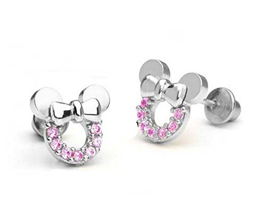 findout Cubic Zirkonia Sterling Silber hohl Mickey Mouse Ohrringe .Für Frauen Mädchen. (F1696)
