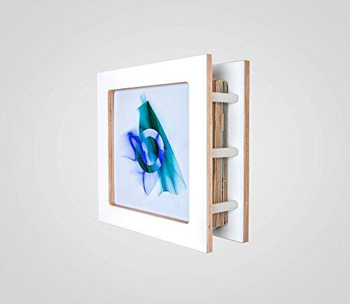 Frame Your Records - Typ: Record Jack, black/white/birch // Regal für Schallplatten // Schallplattenregal // Wechselrahmen (Weiß, Holz + Kunststoff)