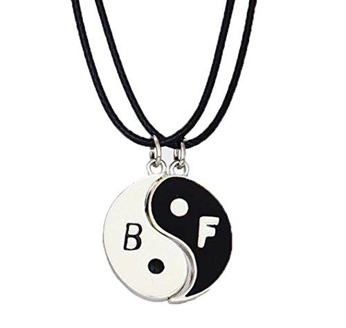 Fengteng En Forma de Corazón Chisme Tai Chisme Yin y Yang Colgante Collar Blanco y Negro BF Pareja Amantes Collar de la Amistad 2 Piezas