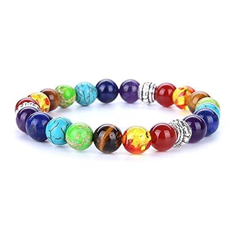 Stillshine - Chakra Yoga Balancing Runde Stein Perlen Elastische Natürliche Perle Kette, Charm Herren Frauen Geschenkbox (Stil 4)