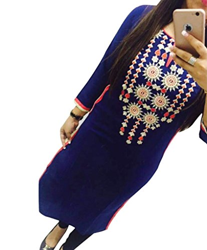 Blue Georgette Embroidered Un-Stitched Straight Kurti  available at amazon for Rs.449