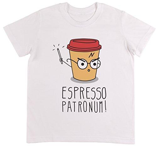 Espresso Patronum Weiß T-Shirt Jungen Mädchen Größe 3XS | Unisex Kids White T-Shirt Size 3XS