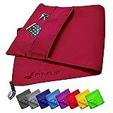 Fit-Flip Set Asciugamano Fitness 3 Pezzi con Scomparto con Cerniera + Clip Magnetica + Asciugamano Sportivo Extra   Asciugamano Multifunzione in Attesa di Brevetto, Asciugamano in Microfibra