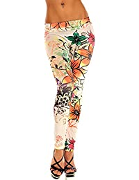Leggings in Blumen Muster Tattoo Style Comic Print Leggins Einheitsgröße 34-44