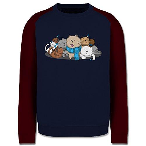 Katzen - süße Katzen - Herren Baseball Pullover Navy Blau/Burgundrot