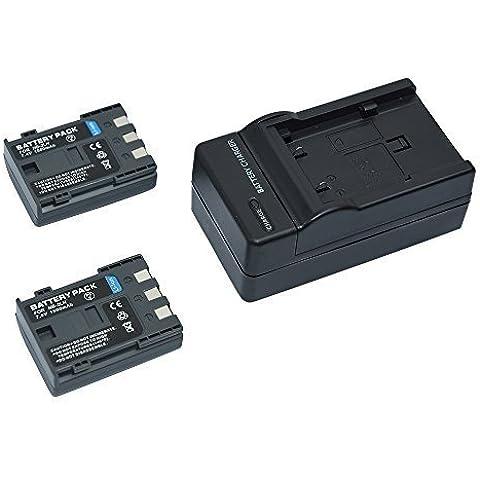 Mondpalast @ 2x sostituzione batteria NB-2LH NB2LH BP2L5 BP2LH BP-2L5 BP-2LH 1500mAh 7.4V + caricabatteria per Canon PowerShot S30 S40 S45 S50 S60 S70 S80 G7 G9 EOS 350D 400D LEGRIA HF R106 HG10 HV20 MV830i MV800i MV940 MV920 IXY DV3 PC1018