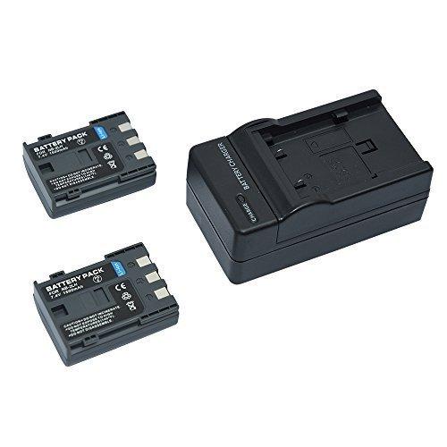 Mondpalast @ 2X Reemplazo Li-ion batería NB-2LH NB2LH BP2L5 BP2LH BP-2L5 BP-2LH 1500 mAh 7.4V + cargador para CANON POWERSHOT S30 S40 S45 S50 S60 S70 S80 G7 G9 EOS 350D 400D LEGRIA HF R106 HG10 HV20 MV830I MV800I MV940 MV920 IXY DV3 PC1018