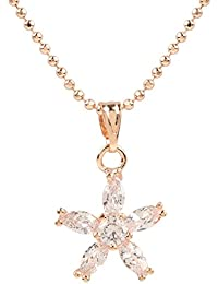 Ananth Jewels Heart Shaped Rose Gold Plated Pendant Necklace For Women - B073T47Y8Q