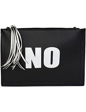 styleBREAKER Clutch mit 'YES' und 'NO' Print, Quasten Anhänger am Reißverschluss, Armschlaufe und Umhängegurt,...